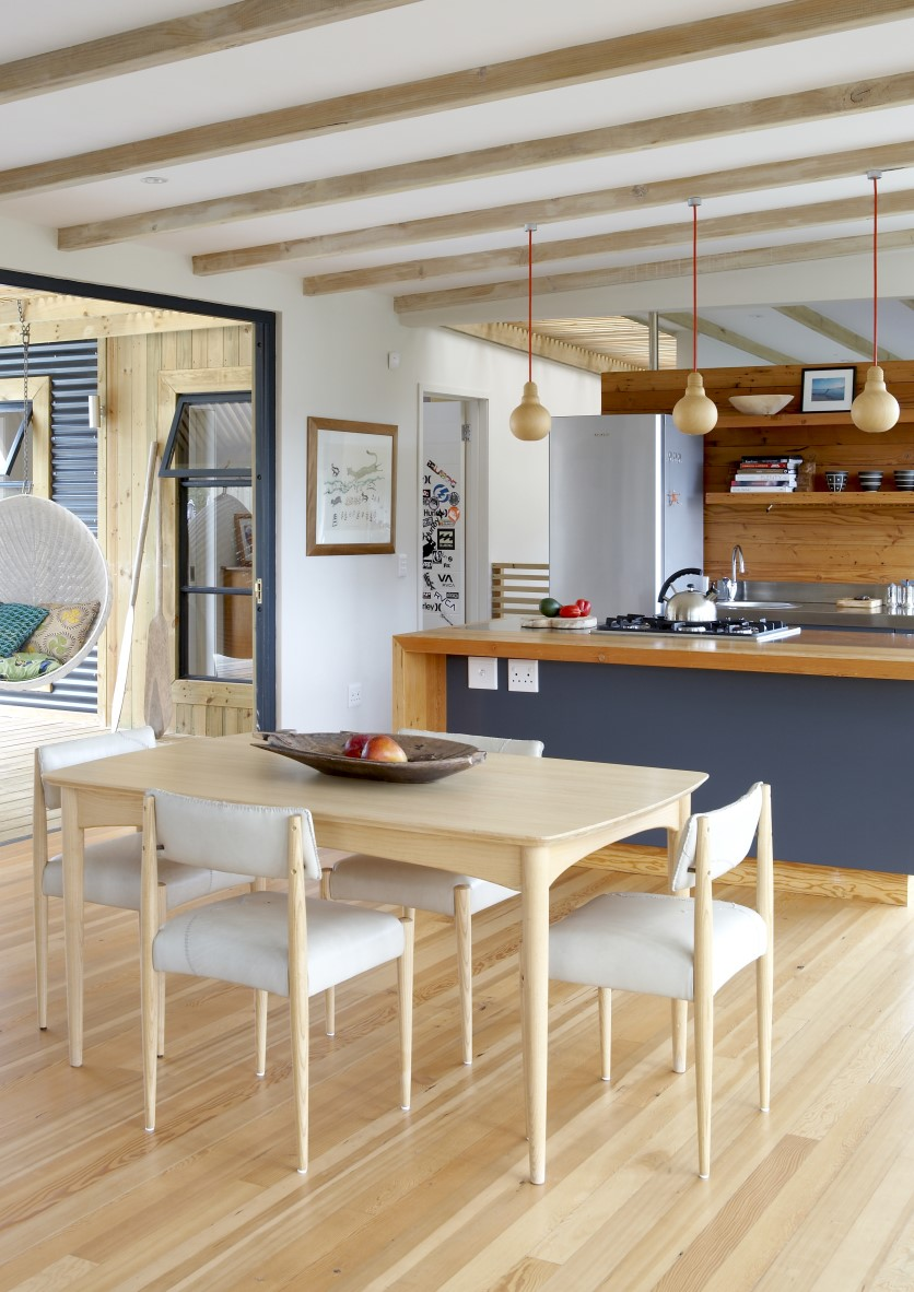 Open-plan kitchen and dining room.
