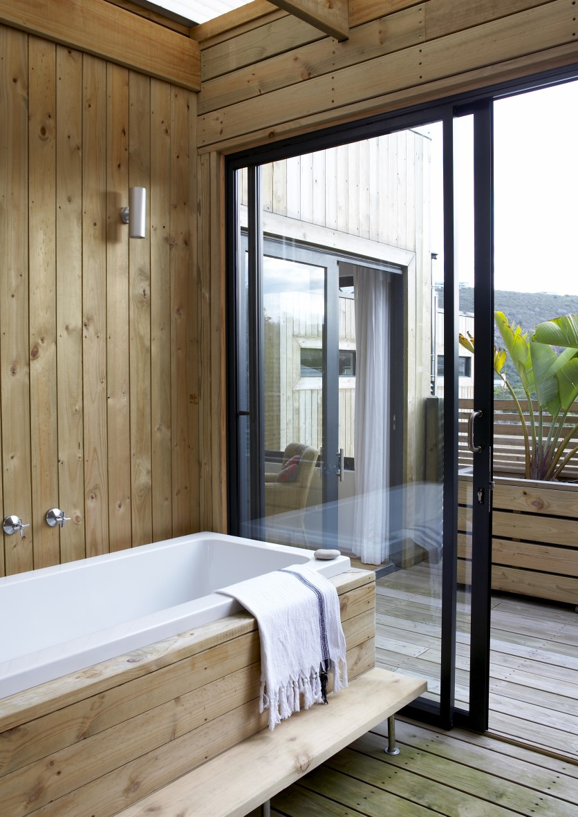 Master bathroom with outdoor shower.